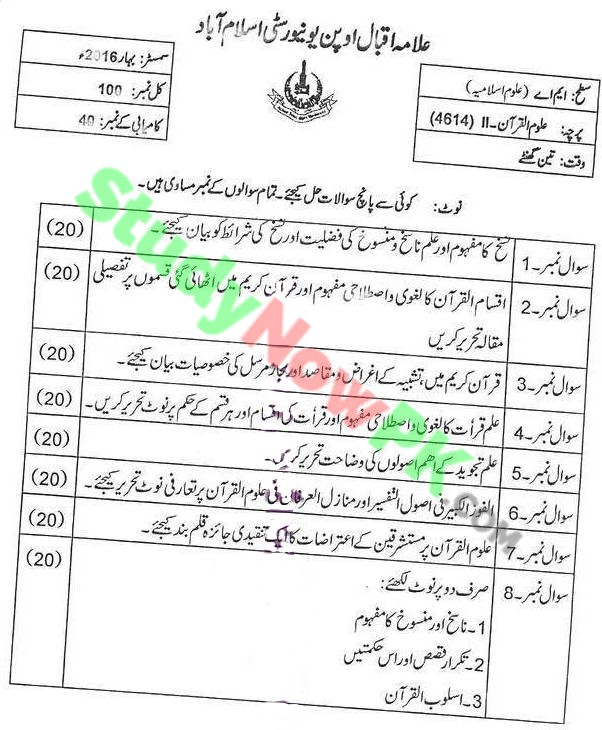 AIOU-MA-Islamic-Studies-Code-4614-Past-Papers-Spring-2016