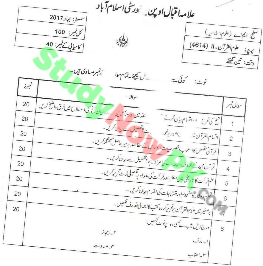 AIOU-MA-Islamic-Studies-Code-4614-Past-Papers-Spring-2017