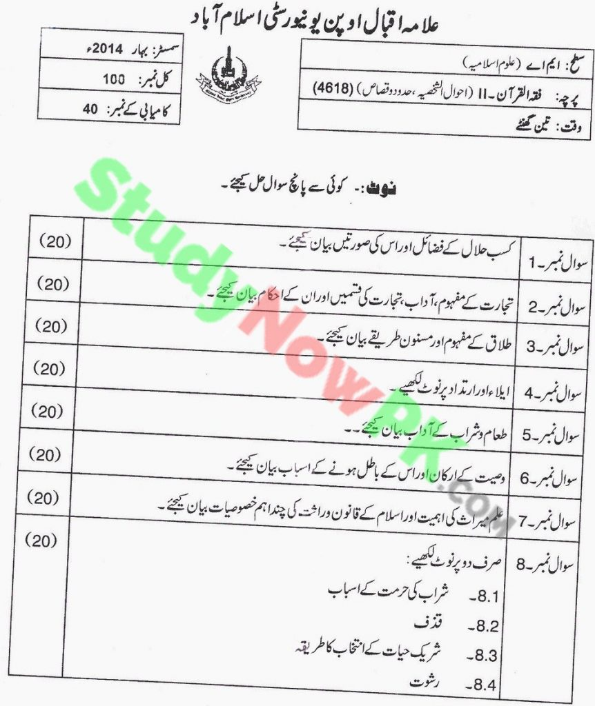 AIOU-MA-Islamic-Studies-Code-4618-Past-Papers-Spring-2014