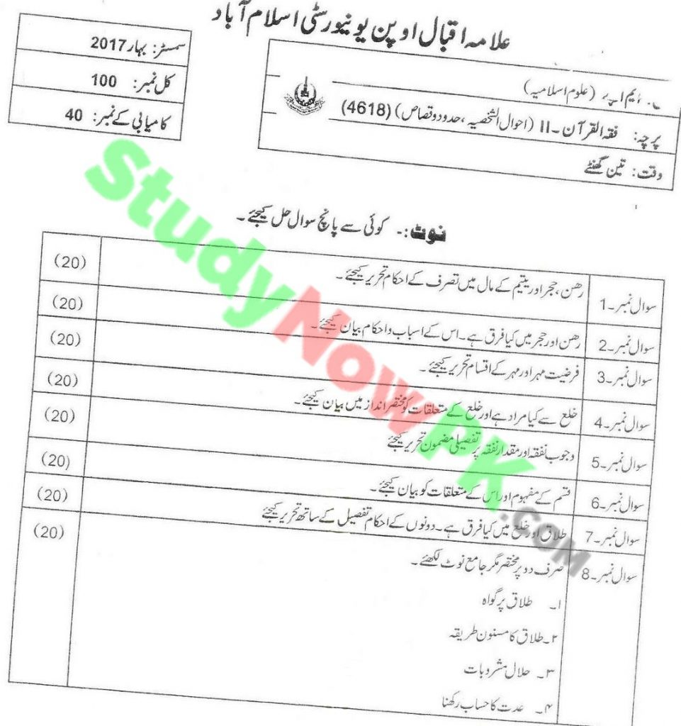 AIOU-MA-Islamic-Studies-Code-4618-Past-Papers-Spring-2017