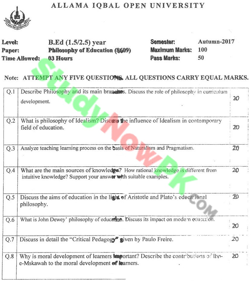 AIOU-BEd-Code-8609-Past-Papers-Autumn-2017