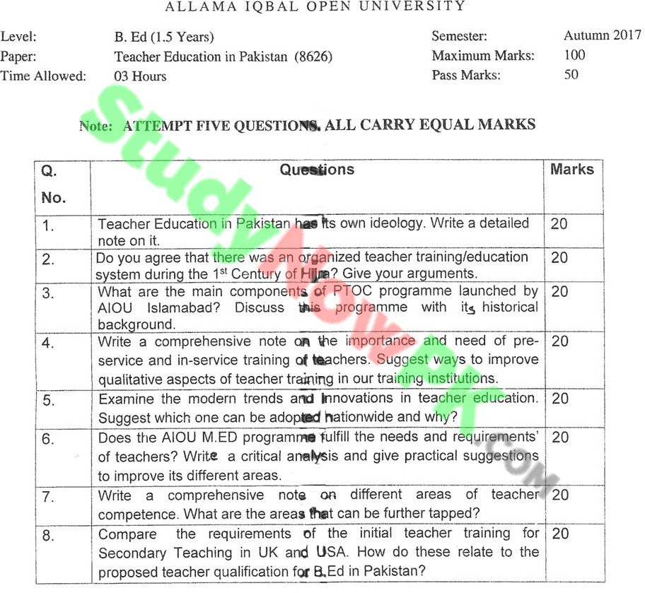 AIOU-BEd-Code-8626-Past-Papers-Autumn-2017