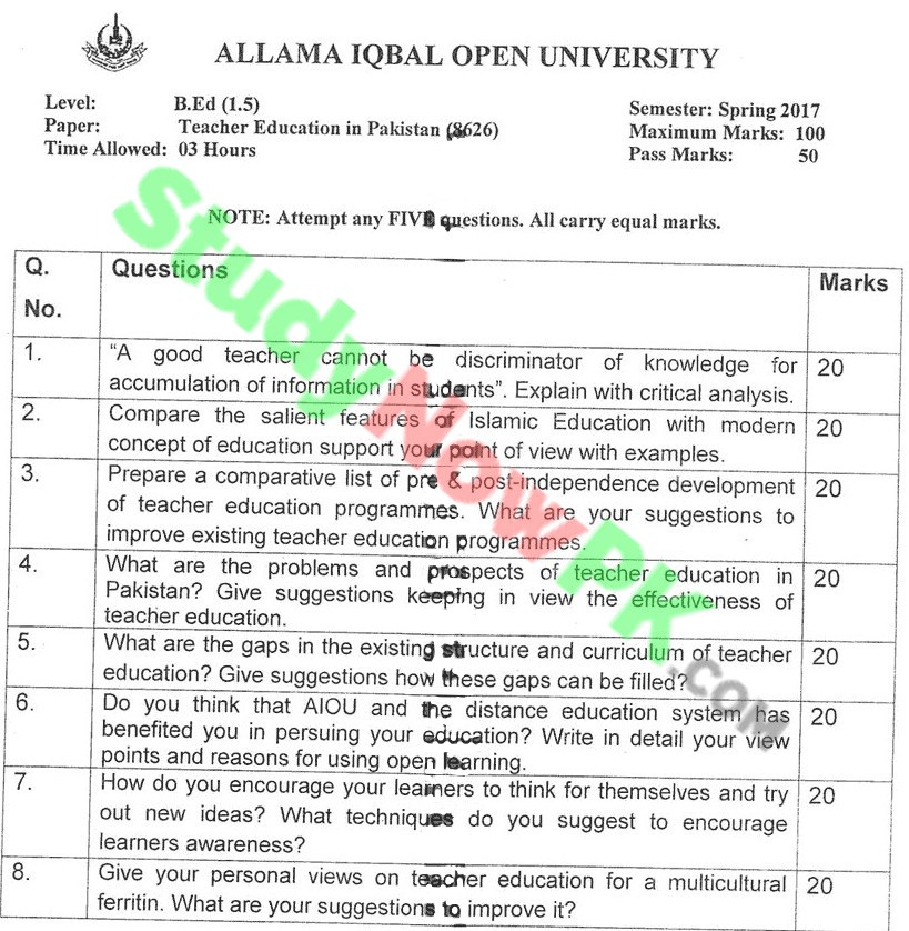 AIOU-BEd-Code-8626-Past-Papers-Spring-2017