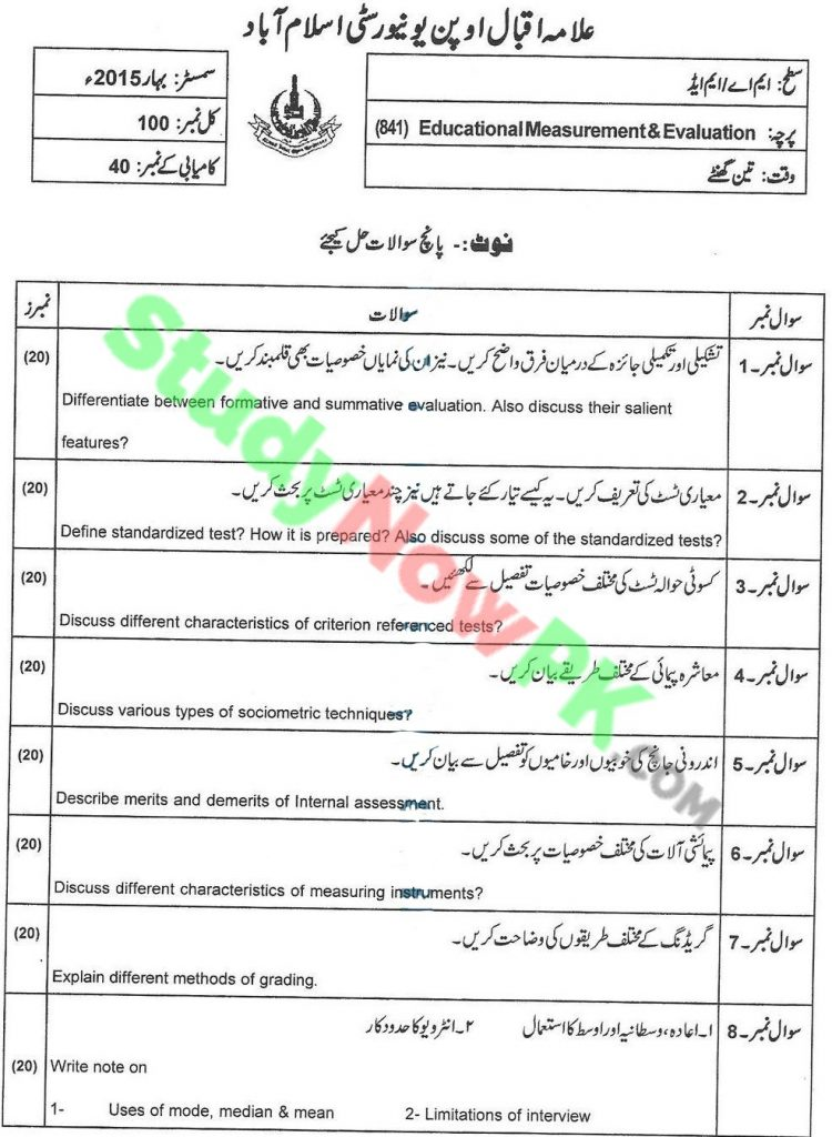 AIOU-MA Education DNFE-Code-841-Past-Papers-Spring-2015