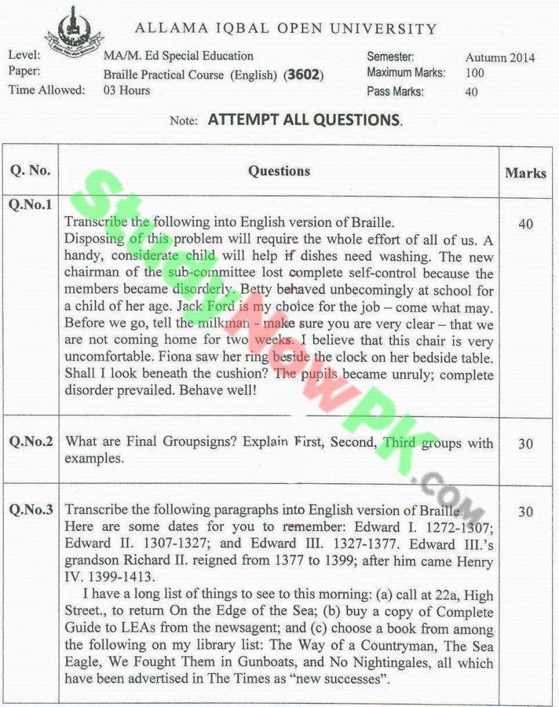 AIOU-MA-Special-Education-Code-3602-Past-Papers-Autumn-2014