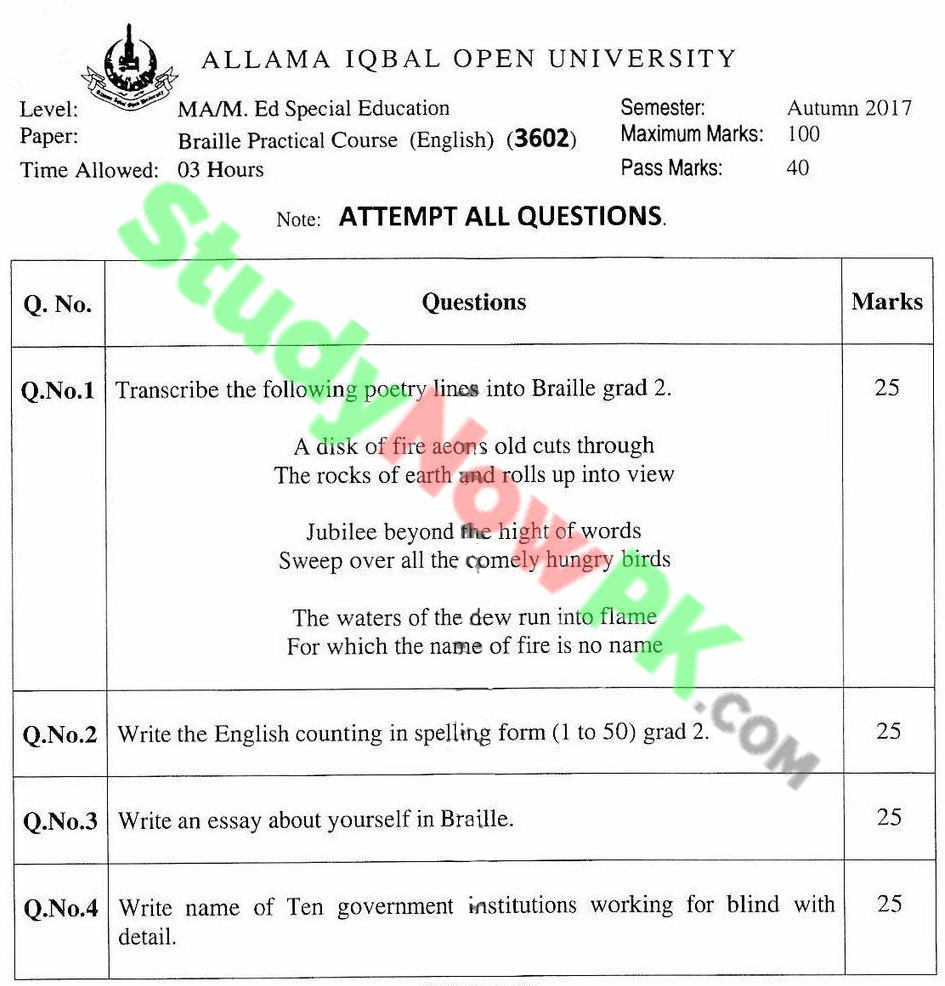 AIOU-MA-Special-Education-Code-3602-Past-Papers-Autumn-2017