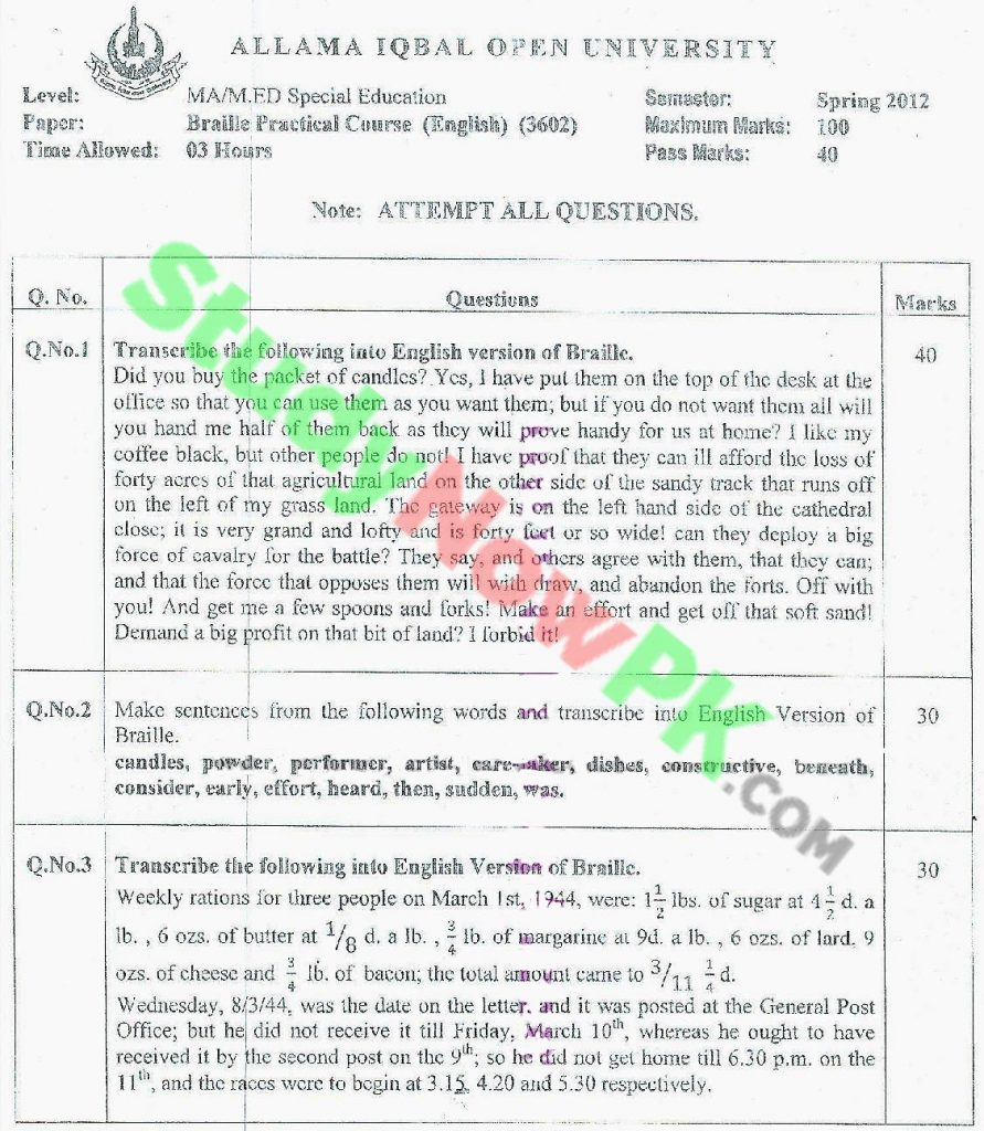 AIOU-MA-Special-Education-Code-3602-Past-Papers-Spring-2012