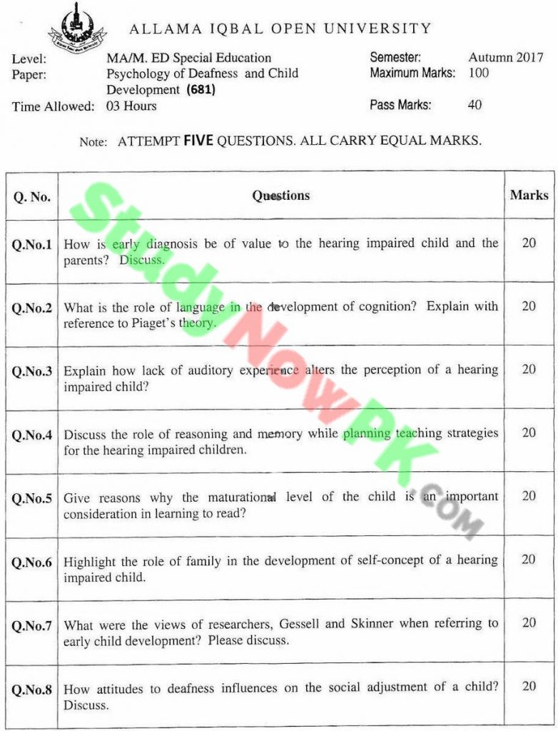 AIOU-MA-Special-Education-Code-681-Past-Papers-Autumn-2017