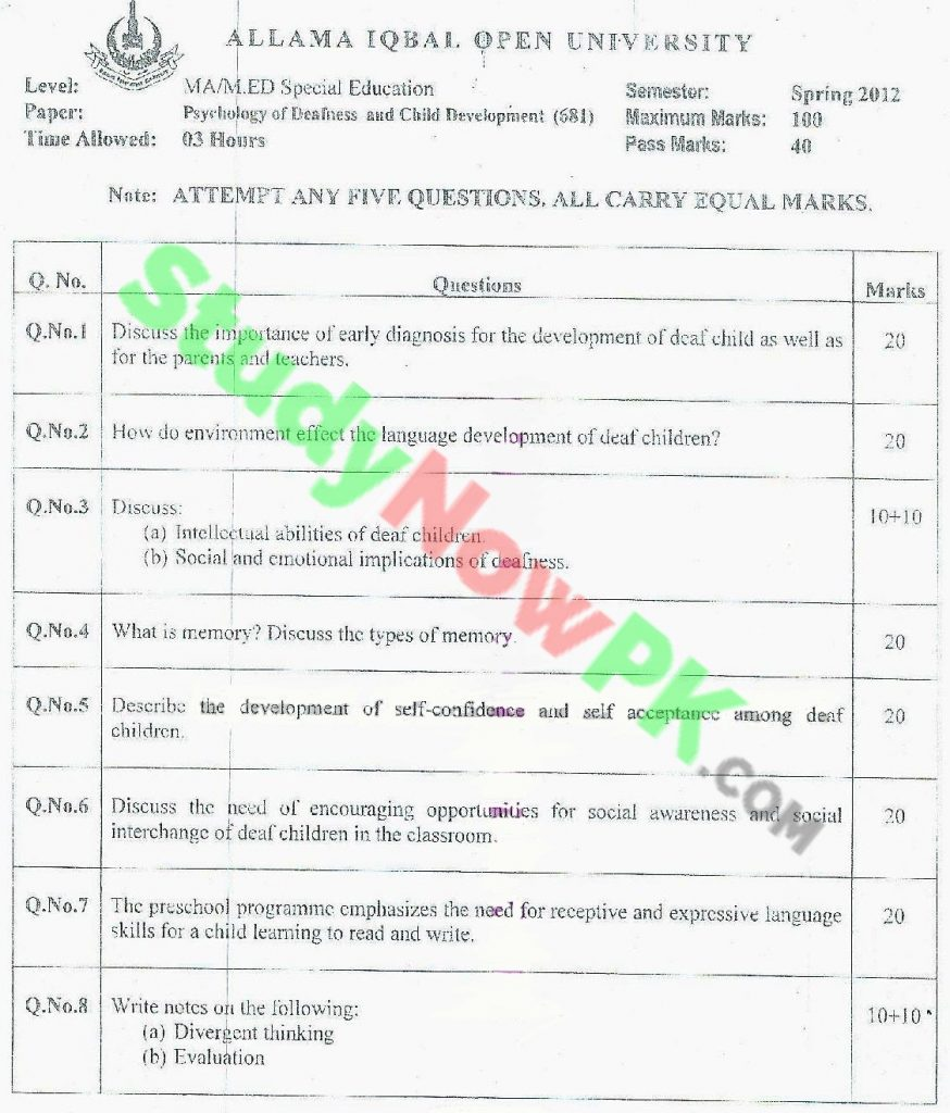 AIOU-MA-Special-Education-Code-681-Past-Papers-Spring-2012
