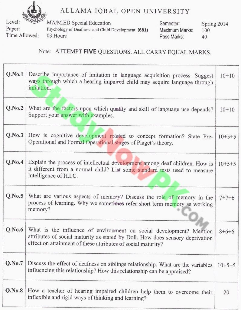 AIOU-MA-Special-Education-Code-681-Past-Papers-Spring-2014