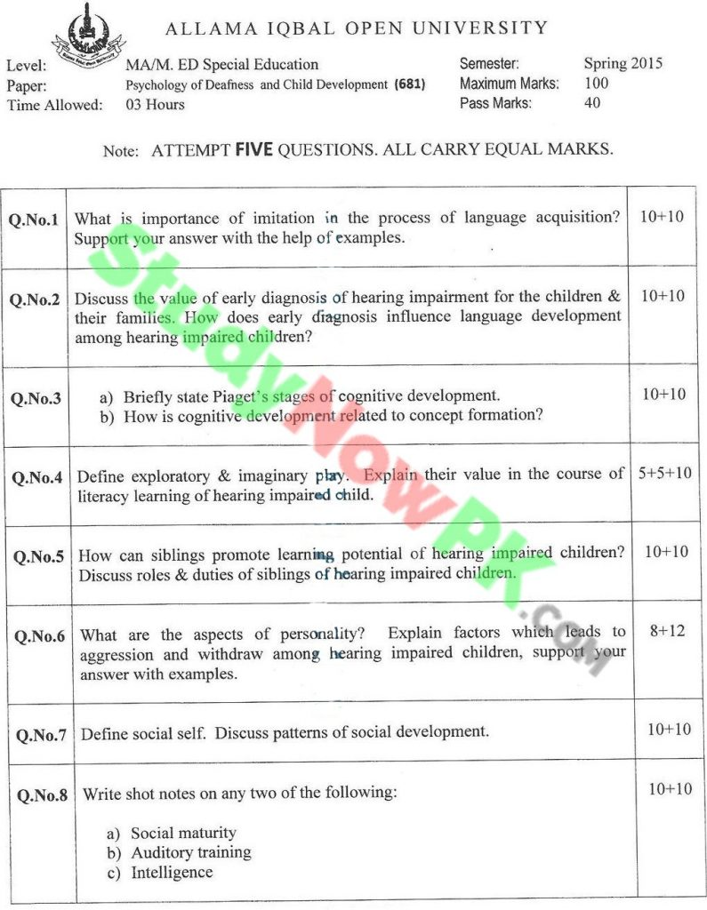 AIOU-MA-Special-Education-Code-681-Past-Papers-Spring-2015