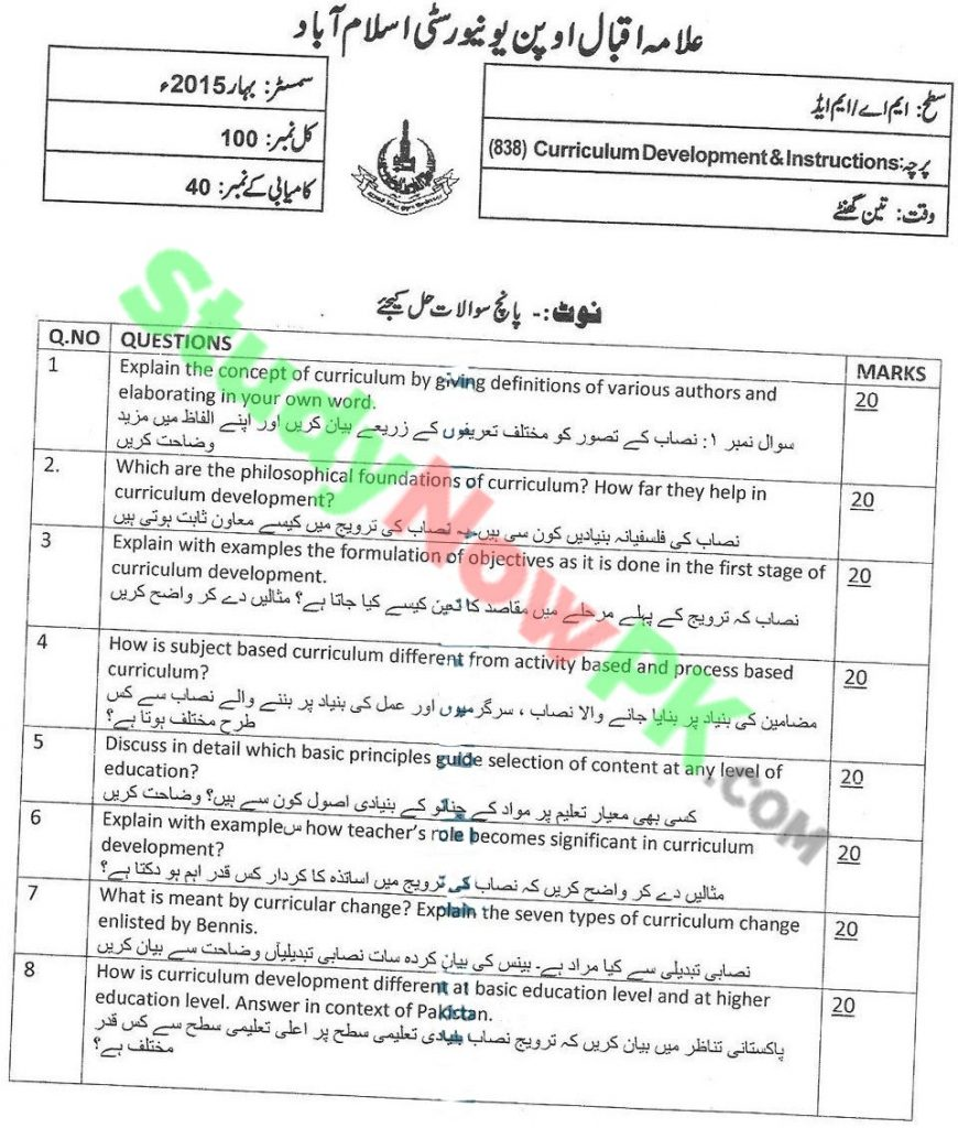 AIOU-MA-Special-Education-Code-838-Past-Papers-Spring-2015