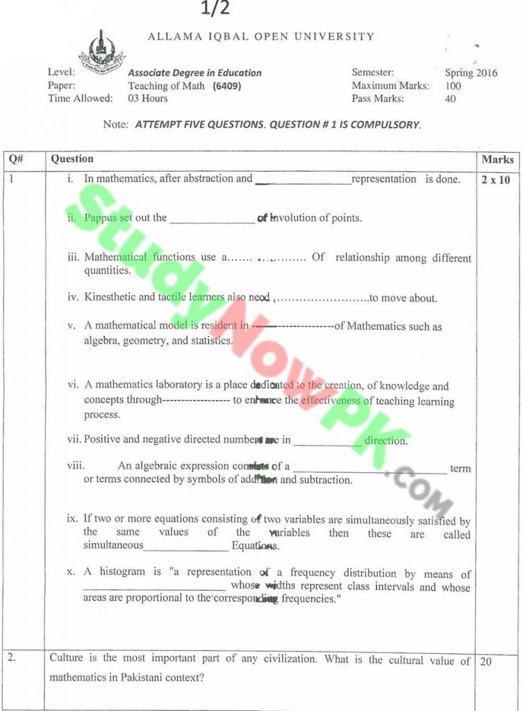 aiou-code-6409-BEd-Past-Papers-Spring-2016.(1)