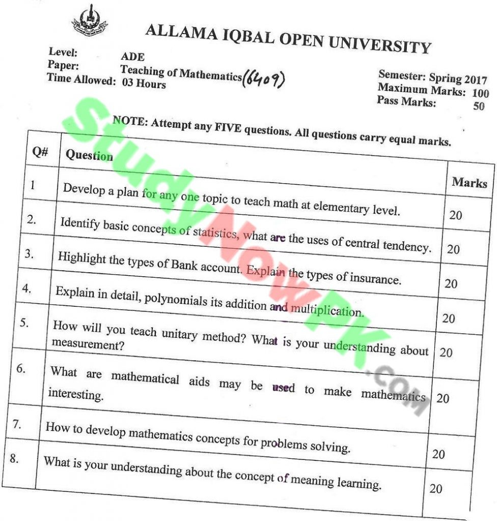 aiou-code-6409-BEd-Past-Papers-Spring-2017