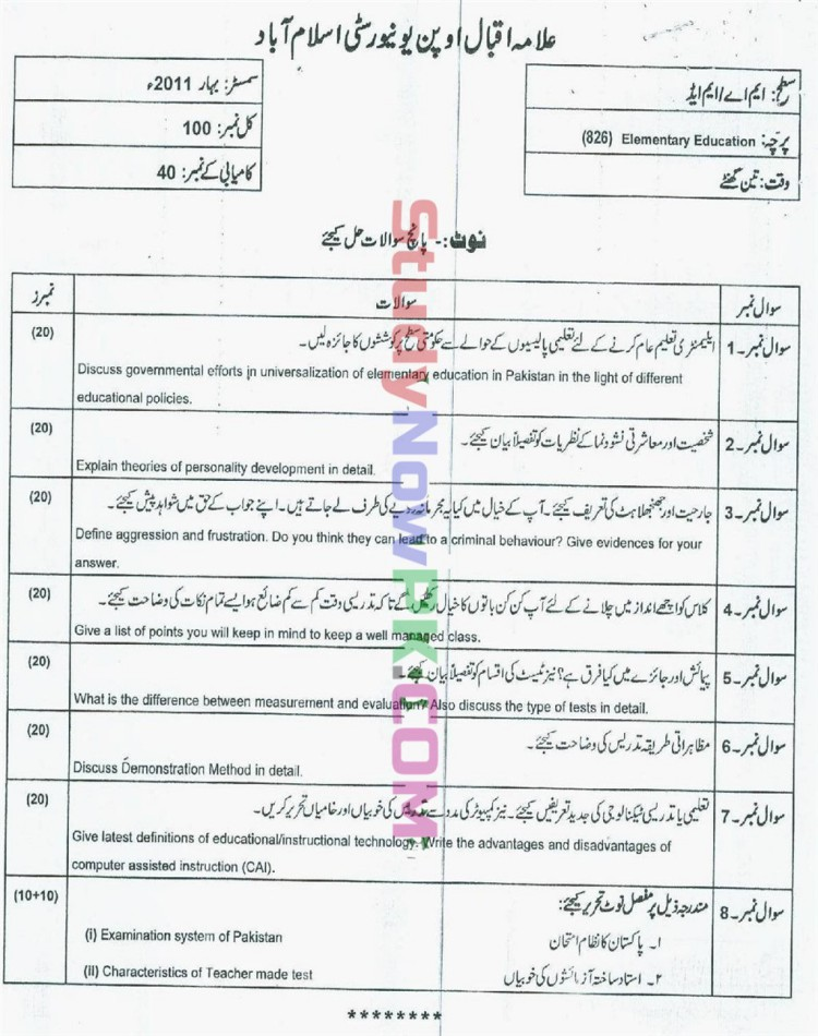 AIOU-MEd-Code-826-Past-Papers-Spring-2011