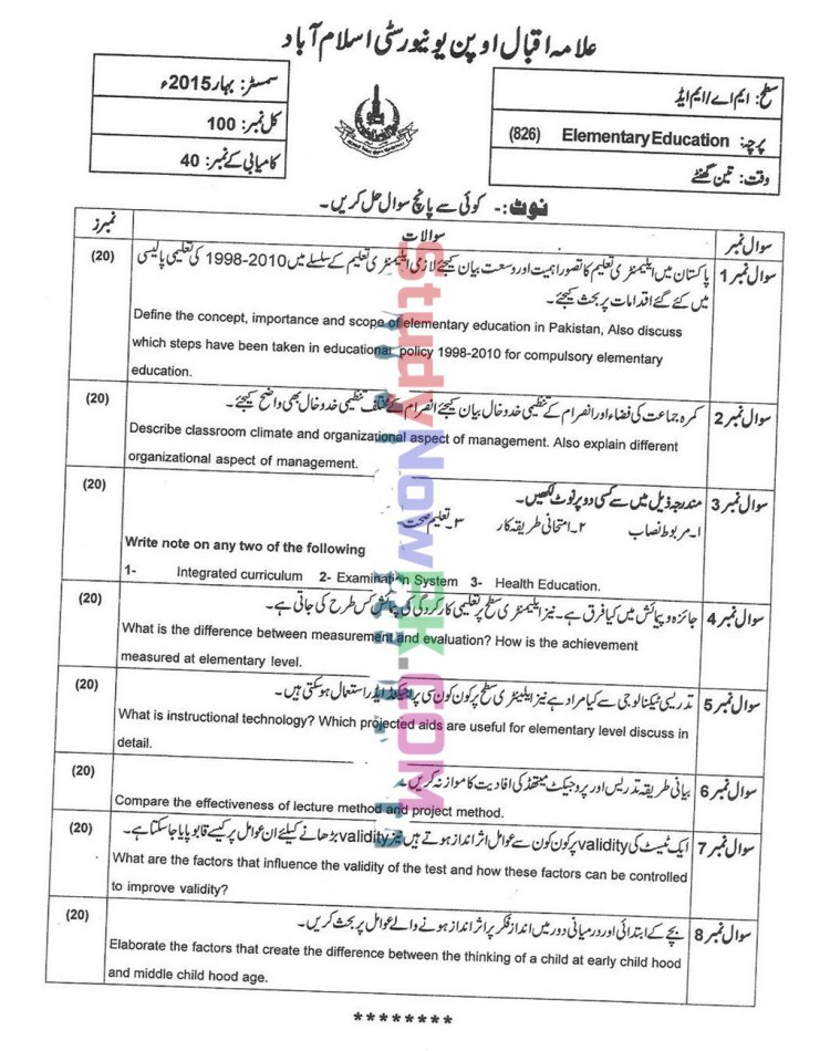 AIOU-MEd-Code-826-Past-Papers-Spring-2015