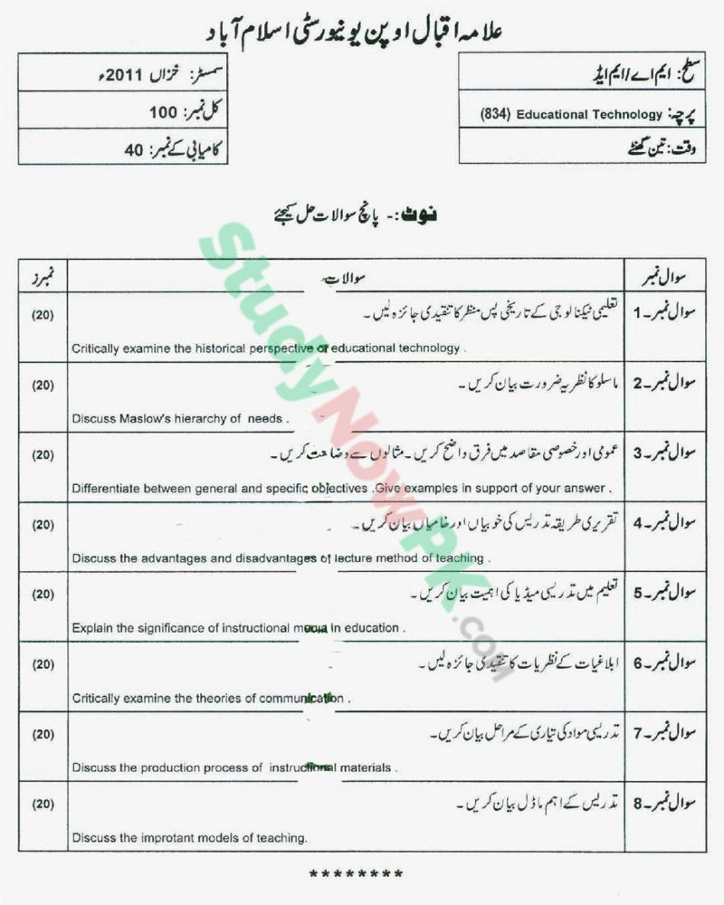 AIOU-MEd-Code-834-Past-Papers-Autumn-2011