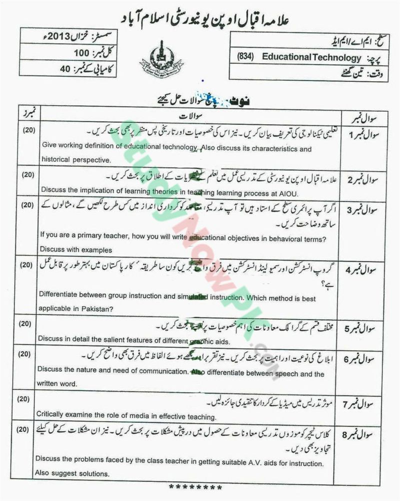 AIOU-MEd-Code-834-Past-Papers-Autumn-2013