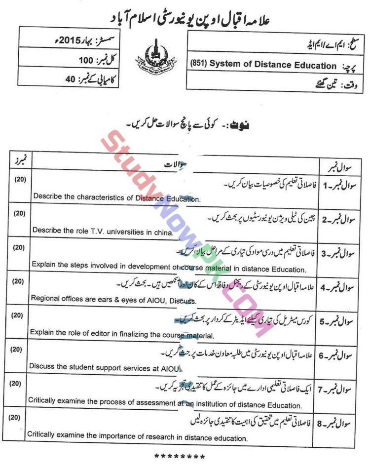 AIOU-MEd-Code-851-Past-Papers-Spring-2015